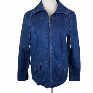 STUDIO WORKS Denim Drawstring Collar Zip Up Jacket